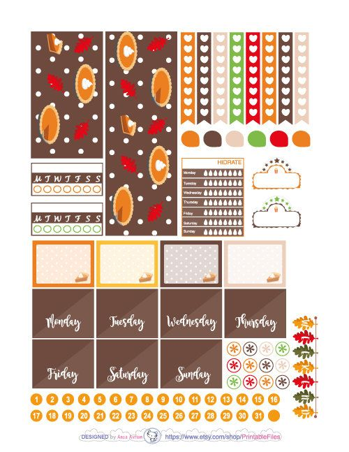 Printable planner stickers.This is a weekly kit of stickers designed for the Happy Planner vertical clasic.  However you can use this weekly kit in other planners like Erin Condren Life planner, personal planners, A5, Kikki K, the Big Mambi Happy Planner, Mini Happy Planner etc.  All planner stickers artwork is made in Adobe Illustrator after my sketches.This type of digital artwork is called vector meaning my designs are of the highest most crystal clear quality.  This is a digital…