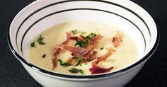 Gräddig jordärtskockssoppa som toppas med knaprig parmaskinka och färsk timjan. Perfekt förrätt att bjuda på.