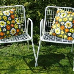 Pair of vintage metal and wirework chairs vintageactually.co.uk