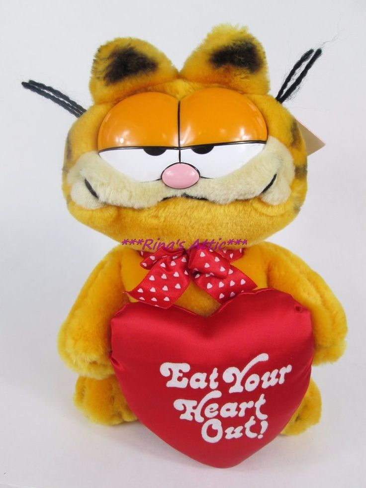 "Vintage Dakin HERE'S MY HEART Valentine GARFIELD 9"" Stuffed Plush w/Tags"