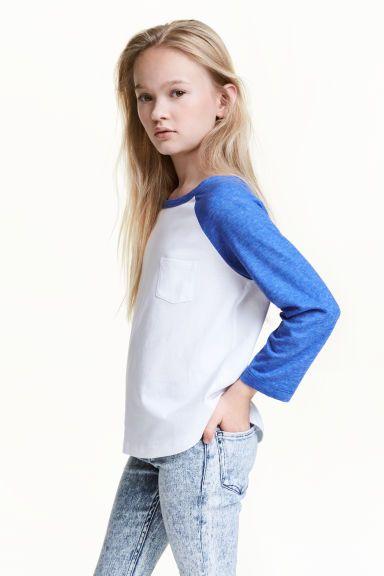Tricot top met lange mouwen - Korenblauw - KINDEREN | H&M NL 1