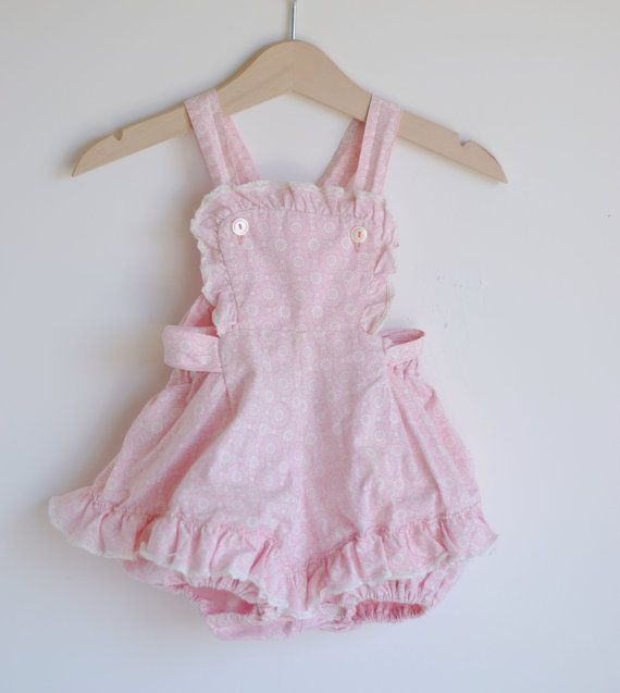 Vintage 1960 S Baby Girl Ruffle Romper Pink Floral Print