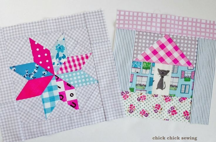 chick chick sewing: LeMoyne Star and Cat in the House Quilt Block Finished! ♪ パッチワーク♪ レモンスターと、こねこのおうち