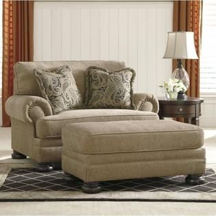 Ashley Ashley Keereel Fabric Accent Chair and a Half with Ottoman in Sand