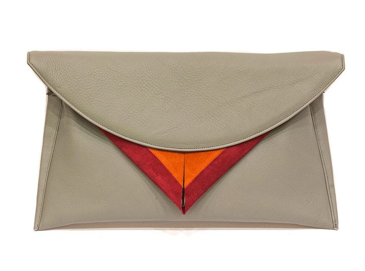 Fine leather clutch Inner pocket Foldover design with magnetic fastening Exceptional lining by Georgina Skalidi #bags #clutch #envelope #skalidi