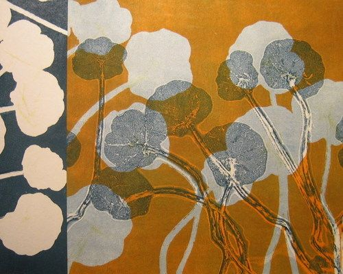 Nasturtium 14, by Mary Margaret Briggs, monotype with collage on panel, 16x20""