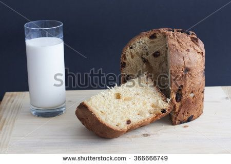 Panettone on a wooden board and milk