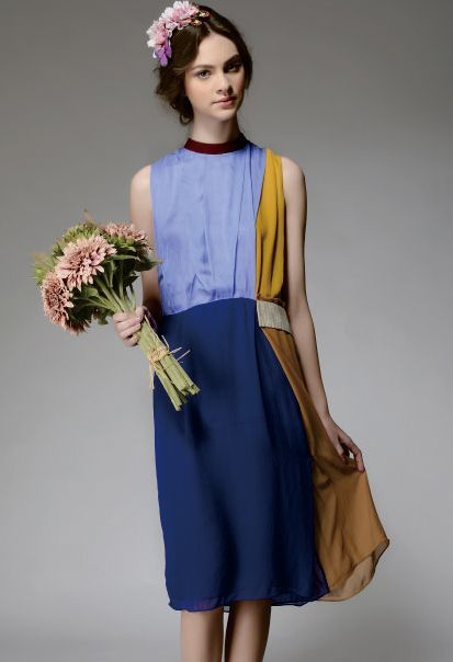 Blue Yellow Sleeveless Round Neck Silk Dress