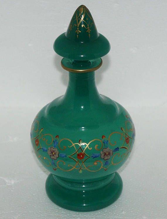 ANTIQUE VICTORIAN ERA Hand Painted Fragrance Perfume Bottle