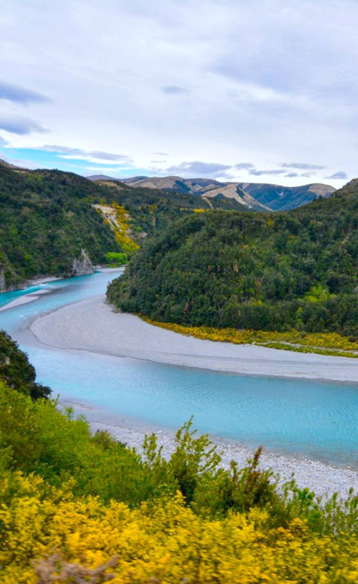 The fresh ice-fed Waimakariki river winds through the valley, contrasted by the yellow gorse bush which dust the hills.