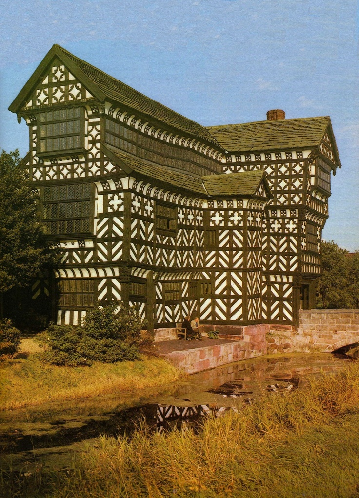 Little Moreton Hall, Cheshire, also known as Old Moreton Hall, is a moated half-timbered manor house. The earliest parts of the house were built for the prosperous Cheshire landowner William Moreton in about 1504–08, and the remainder was constructed in stages by successive generations of the family until about 1610.