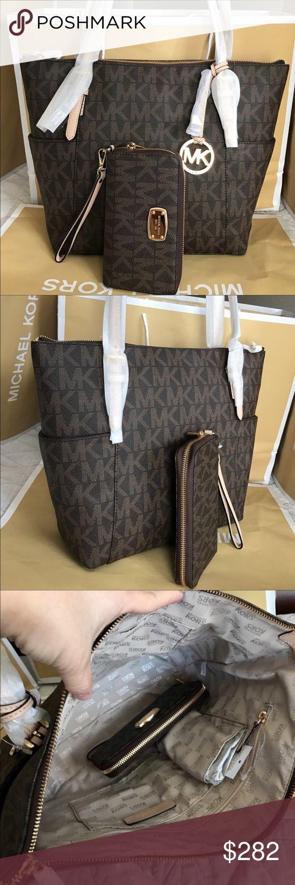 Michael Kors Set 100% Authentic Michael Kors Tote Bag and Wallet, both brand new!.color Brown. Michael Kors Bags Totes