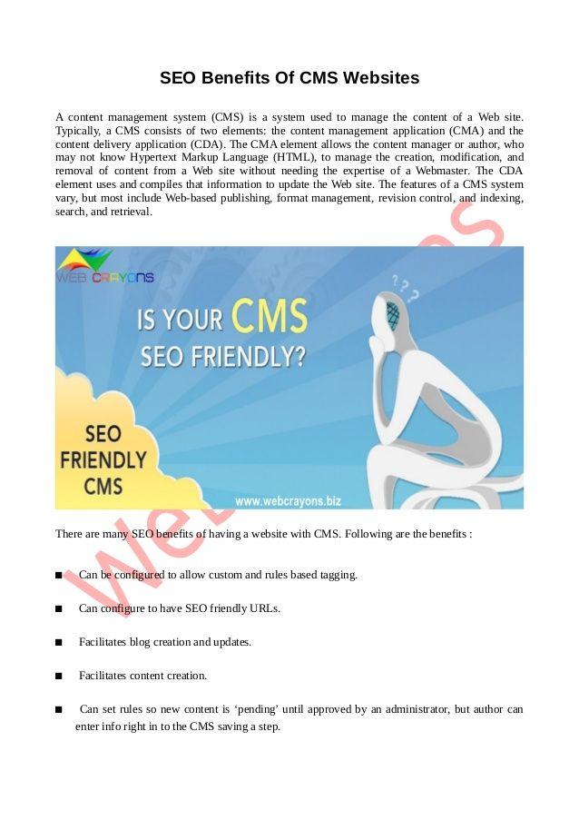 Seo benefits of cms websites by #WebCrayons via slideshare