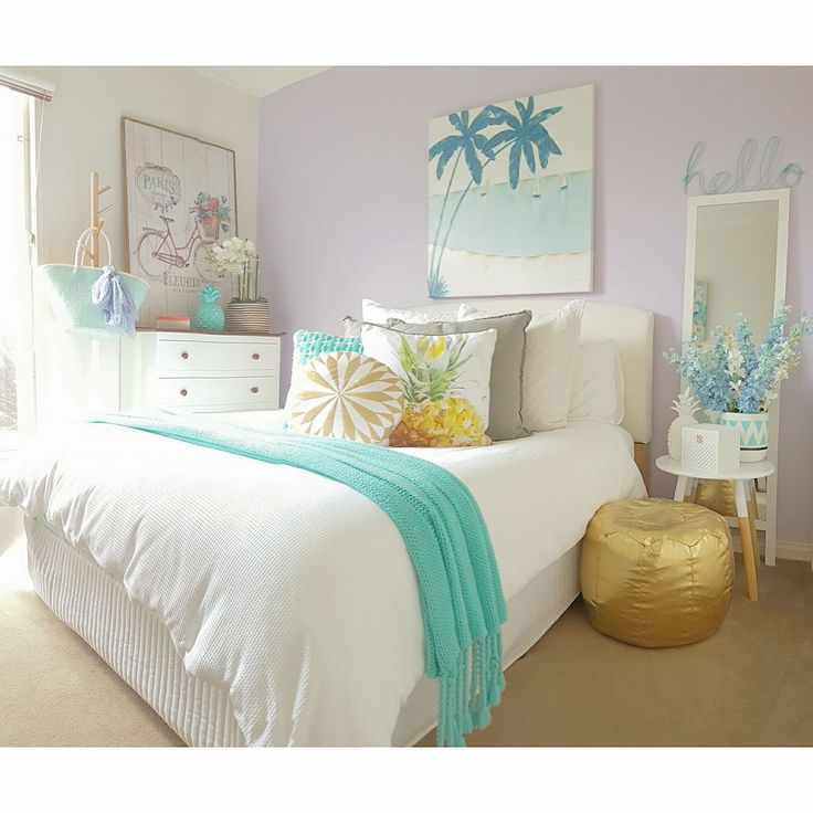 Kmart Teen girls bedroom   Featuring: Kmart White Waffle Quilt Cover  Side table  Gold ottomon  White peg box for jewelry  White framed mirror