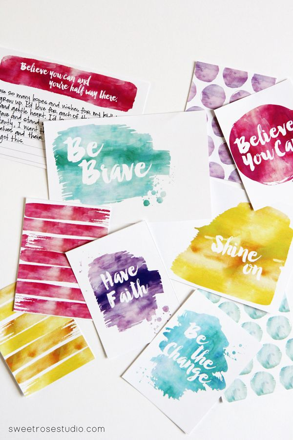 Free Printables: Watercolor Project Life Cards from SweetRoseStudio