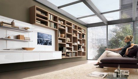 wall unit bookcase. would look good mounted around that TV thing
