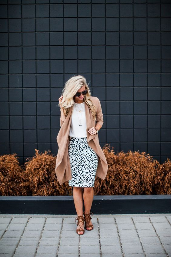 dalmatian print skirt and cardi