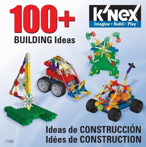 K'Nex 100+ Building Ideas (CD) by K'NEX. $9.99. Great ideas for including Knex bricks. Excellent gift for builders. Includes 100+ ideas and step by step instructions. Perfect for all skill levels and kids ages 5 and above. From the Manufacturer Looking for even More cool models to build with your Knex pieces? This book has them. There are over 100 building ideas inside that use the entire Knex building system to create amazing builds. ...