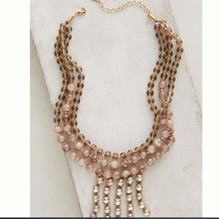 NWT $68 Anthropologie Adah Necklace Glass Bead Choker Free Shipping  | eBay
