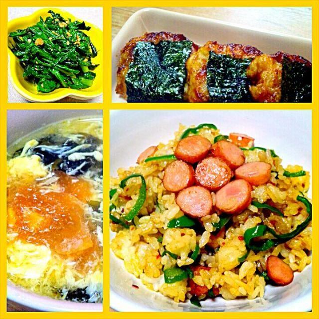 あるものでー♪の簡単お昼ご飯。 - 26件のもぐもぐ - ウインナーとピーマンの炒飯、里芋もち、春菊の胡麻和え、トマトとワカメのかき玉スープ by しょうこ