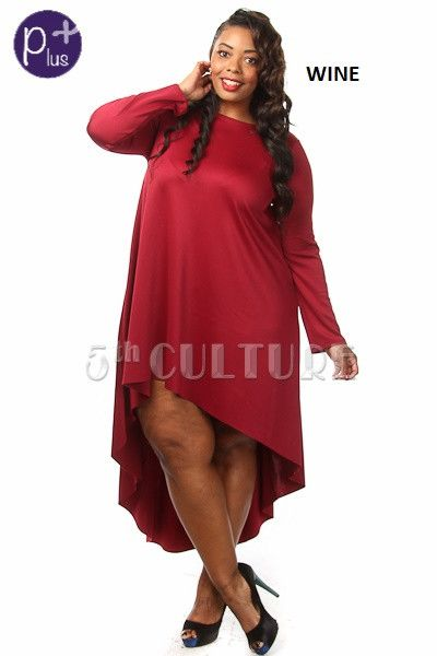 Solid Long Sleeve High Low Short Dress