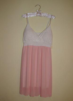 Kup mój przedmiot na #vintedpl http://www.vinted.pl/damska-odziez/krotkie-sukienki/10064383-bialo-lososiowa-sukienka-z-koronkowa-gora