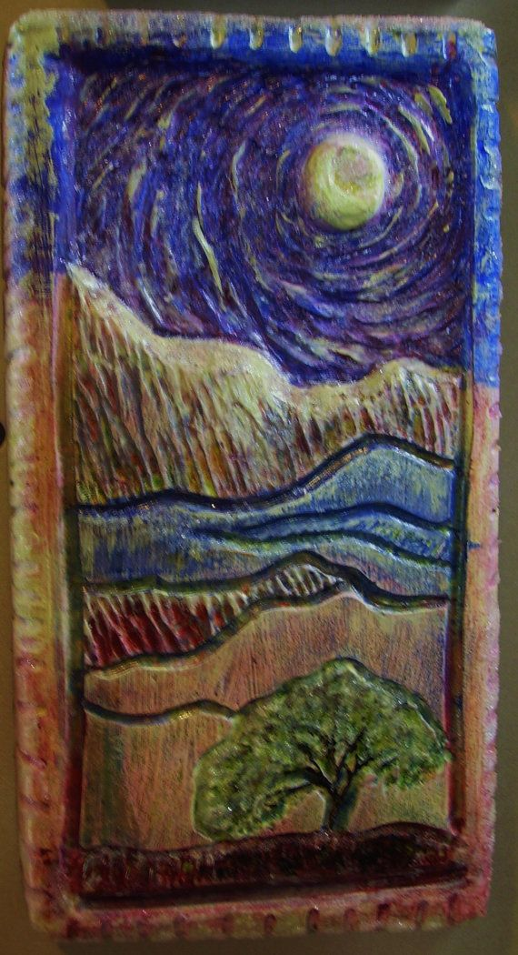 Sparkling moon landscape original relief carved