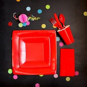 Candy Apple Red Square Dessert Plates