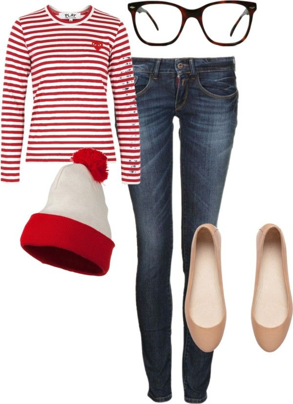 Where's Waldo-striped shirt, blue jeans, glasses, beanie, and flats