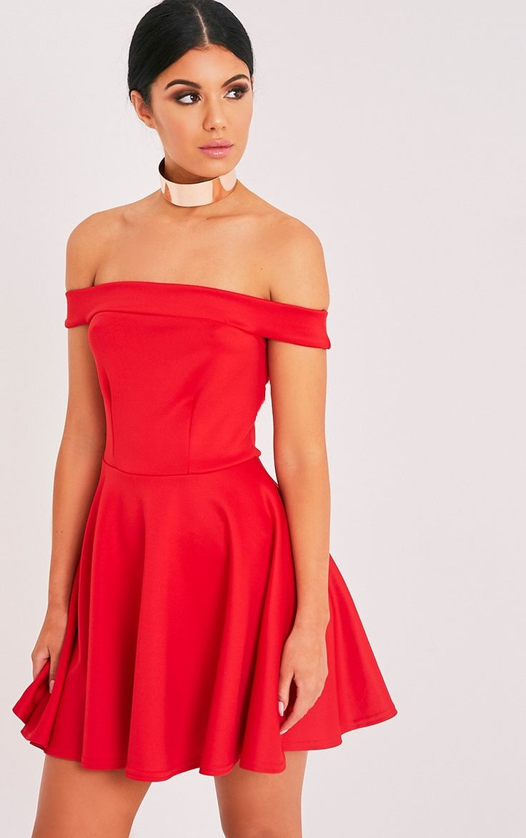 Monica Red Bardot Skater Dress Image 1