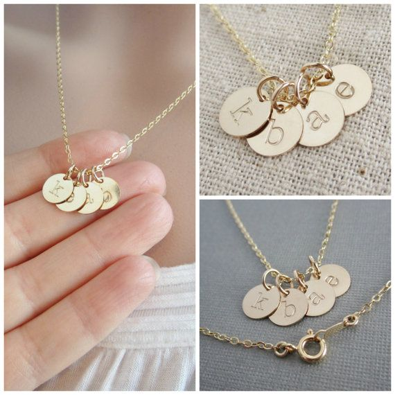Tiny gold initial necklace, mothers necklace, grandma necklace, childrens initials, gold initial charms, hand stamped initials, gift for mom