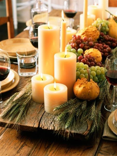 DIY autumn dinner party ideas & decor - group of candles, fruit, gourds & grains on wood plank  ~ ciao! newport beach: