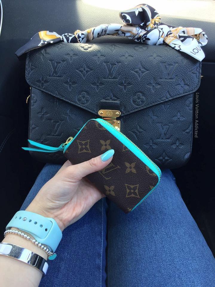 49469d58f639 Louis Vuitton Pochette Metis Empreinte with a Wallet. Turquoise ...