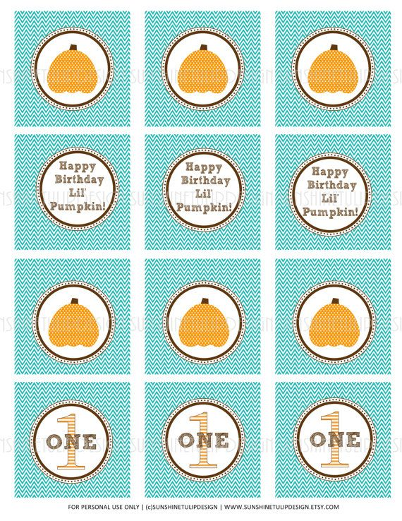 These are perfect for a fall birthday! So cute! Print at home...so easy! 1st Birthday Lil Pumpkin Printable Cupcake by sunshinetulipdesign