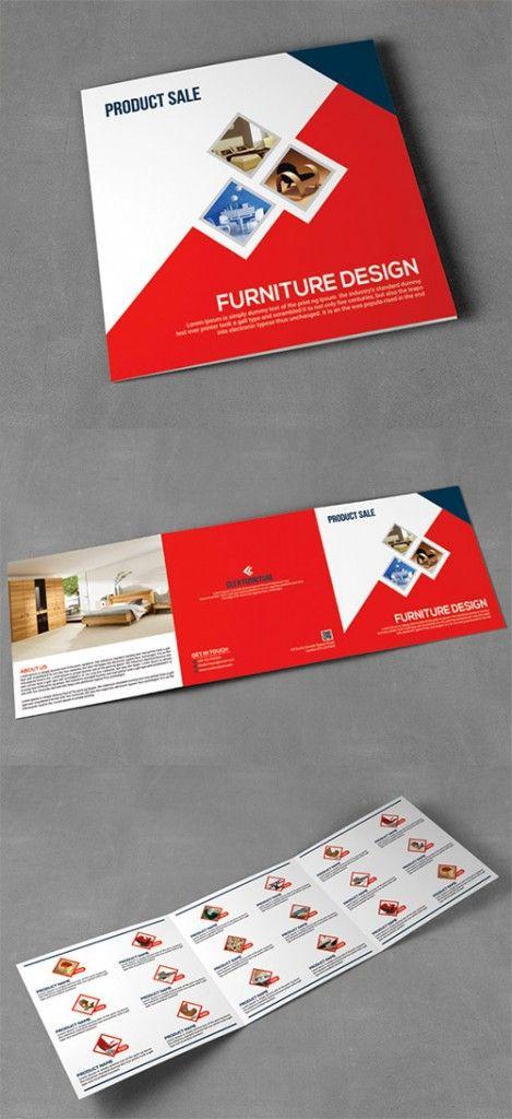 Contoh Desain Brosur Lipat 3 terbaru - Product Sale Square Trifold Brochure - Brosur Penjualan Marketing Pemasaran Produk Furniture