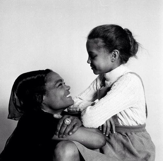Eartha Kitt with her daughter.