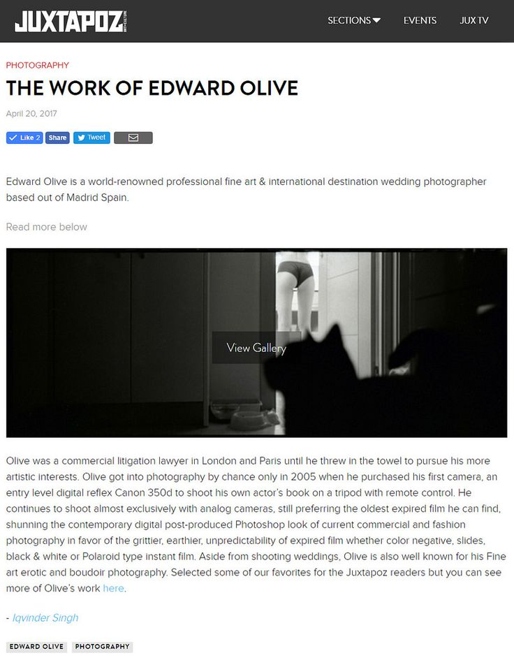 https://flic.kr/p/TRFRnQ | Juxtapoz Magazine - The work of Edward Olive - photography | © Copyright Edward Olive All rights reserved. Todos derechos reservados.  www.juxtapoz.com/news/photography/the-work-of-edward-olive/  Edward Olive is a world-renowned professional fine art & international destination wedding photographer based out of Madrid Spain.  Olive was a commercial litigation lawyer in London and Paris until he threw in the towel to pursue his more artistic interests. Olive got...