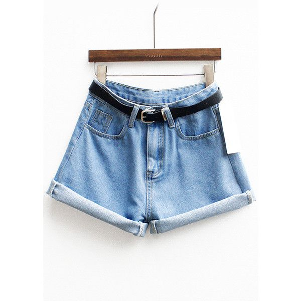 With Belt Cuffed Denim Shorts ($12) ❤ liked on Polyvore featuring shorts, blue, bottoms, jeans, romwe, blue denim shorts, jean shorts, blue shorts, short jean shorts and cuff shorts