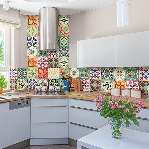 PS00049 Adesivi murali in pvc per piastrelle per bagno e cucina Stickers design - Valencia - 24 piastrelle formato 20x20 cm