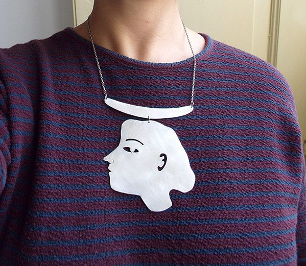 Collane corte - Collana in alluminio profilo di donna - un prodotto unico di LaboratorioIndie su DaWanda