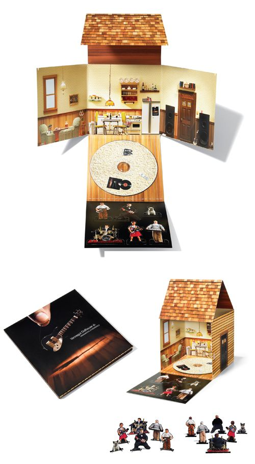 Genius new CD packaging for Vonnegut Dollhouse that literally turns into a paper doll house.