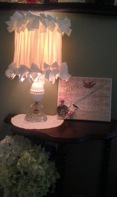 Vintage lampshade redo & decoupage art