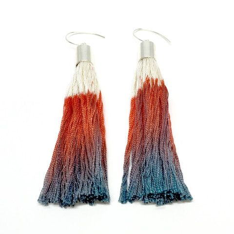 Elise Cakebread - Hand Dyed Silk Tassel Earrings in Coral and Mauve