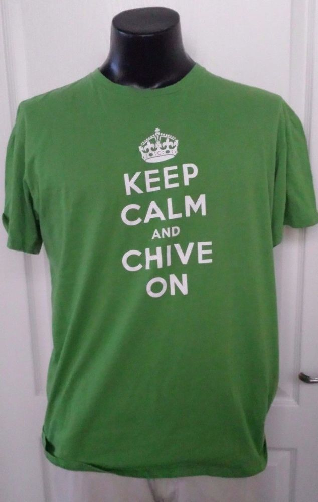 Original KCCO Keep Calm AND Chive On Logo Promo Green XL T-Shirt TheChivery Rare #ChiveTees #GraphicTee
