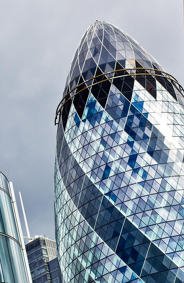 Angled Image Of Londons Famous Gherkin Building Central London