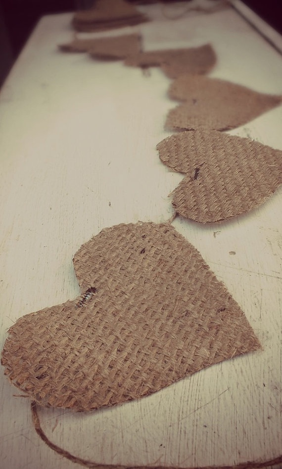 CUSTOM BURLAP BANNER Heart shaped Pendants are by TiddlywinkDesign, $2.50
