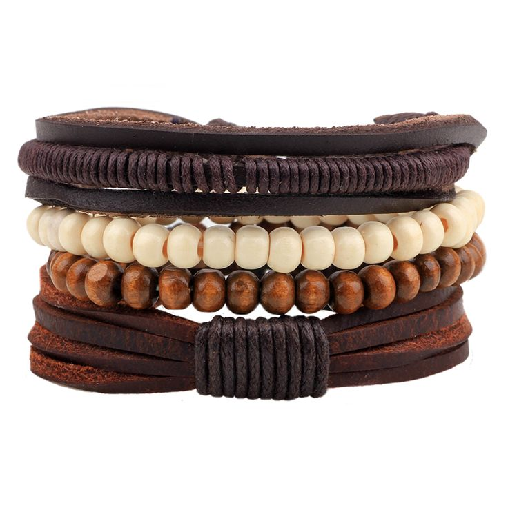 19 Styles 1 Set Punk Homme Multi-Layer Weave Rope Cuff Braclet Beads Pu Leather Bracelet Male Braslet Accessories For Men