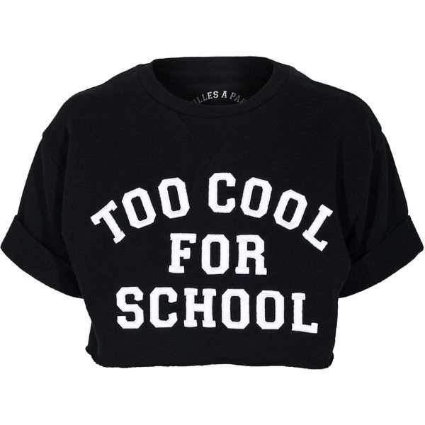 Filles a papa School Sweat Black Cropped sweater with print ($78) ❤ liked on Polyvore featuring tops, t-shirts, shirts, crop tops, ribbed tee, loose t shirt, short sleeve shirts, print shirts and crop top