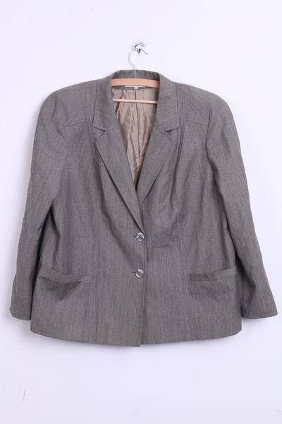 Paola Santi Italy Womens 53 2XL Blazer Top Suit Grey Pure Wool Single Breasted - RetrospectClothes