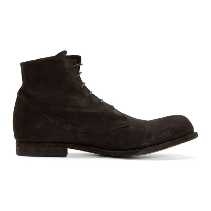 Officine Creative Black Brushed Leather Lace-Up Boots